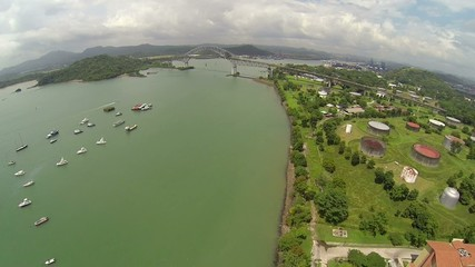 Aerial view of Bridge of the Americas across The Panama Canal