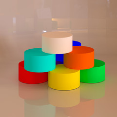 Abstract colorful 3D geometric shapes. Cylinders.
