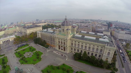 Vienna from above air, National Museum of Austria aerial shot