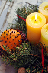 Advent wreath with lit candles