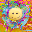 canvas print picture - Krapfen mit Smiley Gesicht