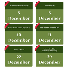 Important environmental dates in december