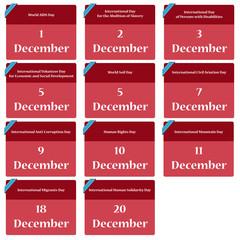 Important dates in december - reminder