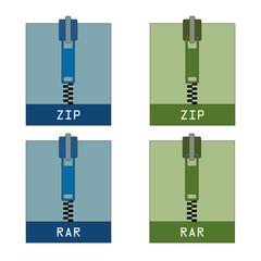 Set of zip and rar icons