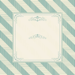 Vintage frame on retro diagonal striped background