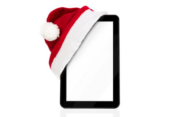 Christmas tablet with Santa hat