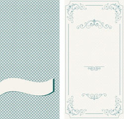 Set of vintage invitations on retro background with blue hearts