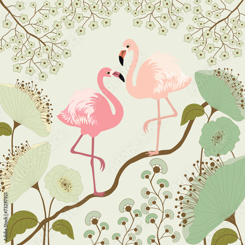 Floral background with flamingos - 73297921