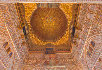 Seville - cupola of Hall of Ambassadors in Alcazar of Seville.
