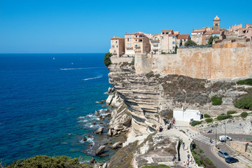 The citadel of Bonifacio view from the cliff, Corsica, France