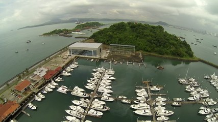 yachts and boats from Causeway Amador, Panama City, Panama.