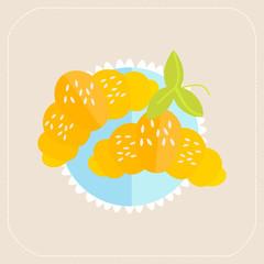 Croissant icon flat
