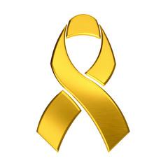 Golden ribbon logo