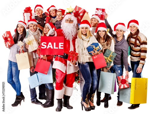 canvas print picture Group people and  Santa.
