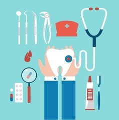 dentist holding a tooth illustration