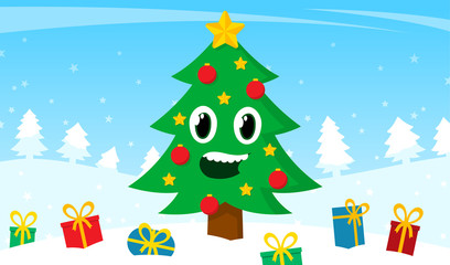 Happy cartoon Christmas tree with colorful gifts