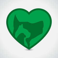 Veterinary Heart. Cat Dog Bird