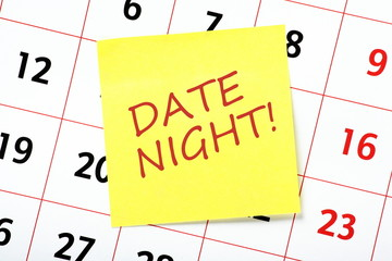 Date Night reminder note attached to a calendar