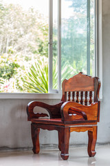 wood chair furniture and window