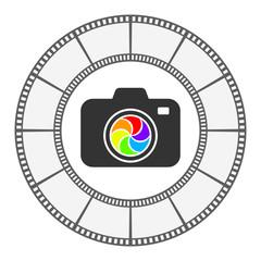 photo camera icon round frame