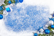 canvas print picture - Blue winter border background
