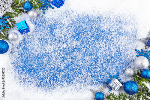 canvas print picture Blue winter border background