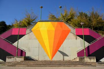 graffiti en escaleras de burgos