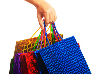 Hand hold colored bags