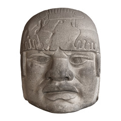 Stone Olmec head isolated on white