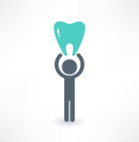 Fototapeta Man and tooth icon. Medical concept. Logo design.