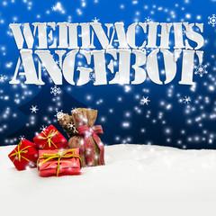 Weihnachtsangebot Angebot Angebote Weihnachten blau