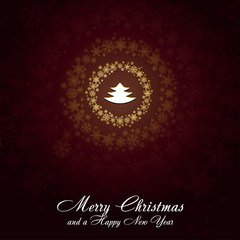 Christmas card with golden snowflakes, vector