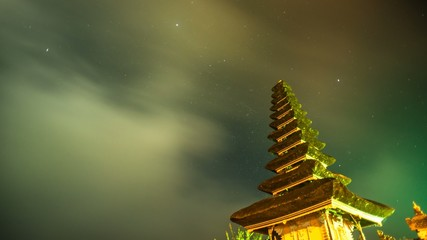 Stars and Clouds Time Lapse at a temple, Bali