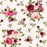 Fototapety Seamless pattern with red and pink roses. Vector illustration.