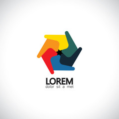 abstract unusual creative colorful spiral hexagon icon - concept
