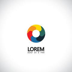 abstract shutter aperture camera lens icon - concept vector grap