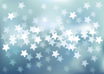 Blue festive lights in star shape, vector background.