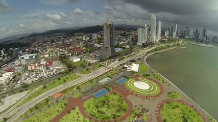 Aerial footage of the tip of Panama City in Cinta Costera