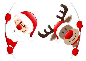 Dark Red Rudolph & Santa Round Banner Inside