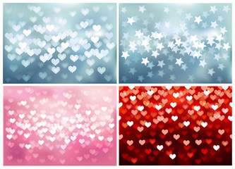 Set of festive lights in heart and star shapes, vector