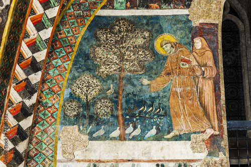 Leinwandbild Motiv Vogelpredigt des hl. Franziskus im Sacro Convento, Assisi