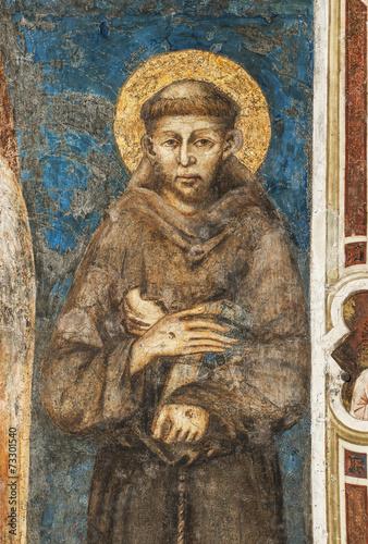 Leinwanddruck Bild Franziskusdarstellung von Cimabue im Sacro Convento in Assisi