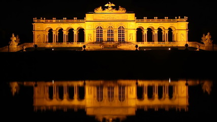 Vienna's famous Schonbrunn palace at night timelapse reflection