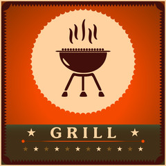 Retro Grill Menu Card Design template poster