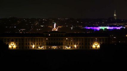 Vienna night city timelapse Schonbrunn palace in front, traffic
