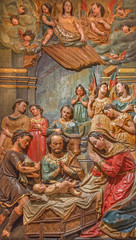 Seville - Adoration of shepherds relief in Church of El Salvador