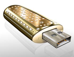 USB Flash Stick - mit Diamanten, Brillianten und Goldeinfassunge