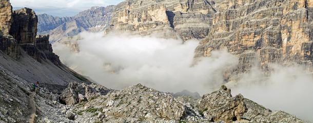 People trekking in the Italian Dolomites