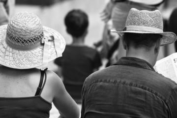 Tourists in Siena, Tuscany. BW image