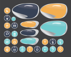 Set of buttons for design